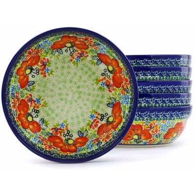 Polish Pottery 7-inch Set of 6 Bowls   Boleslawiec Stoneware   Polmedia H0678J