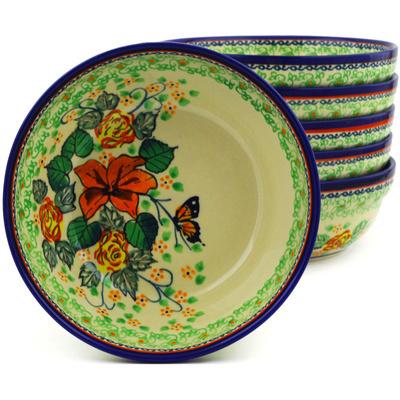 Polish Pottery 7-inch Set of 6 Bowls | Boleslawiec Stoneware | Polmedia H8999F