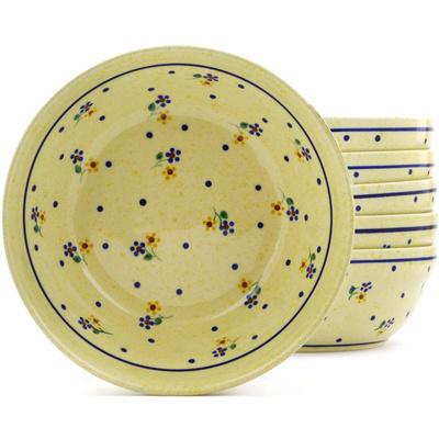 Polish Pottery 7-inch Set of 6 Bowls | Boleslawiec Stoneware | Polmedia H8967F