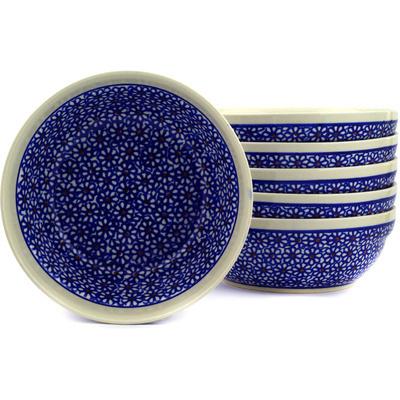 Polish Pottery 7-inch Set of 6 Bowls | Boleslawiec Stoneware | Polmedia H3083E