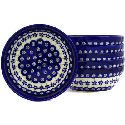 Polish Pottery 7-inch Set of 6 Bowls | Boleslawiec Stoneware | Polmedia H3084E