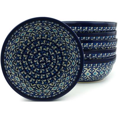 Polish Pottery 7-inch Set of 6 Bowls | Boleslawiec Stoneware | Polmedia H5327I