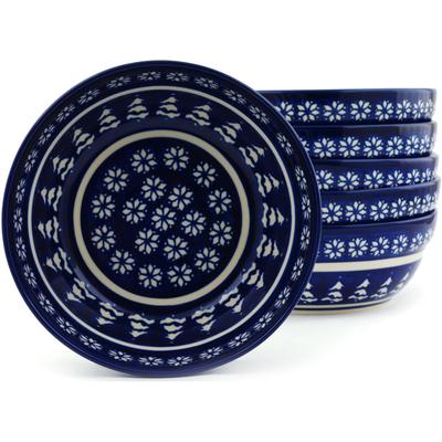 Polish Pottery 7-inch Set of 6 Bowls | Boleslawiec Stoneware | Polmedia H5987I
