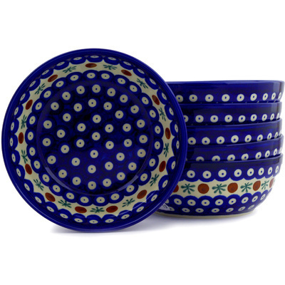 Polish Pottery 7-inch Set of 6 Bowls | Boleslawiec Stoneware | Polmedia H6611E