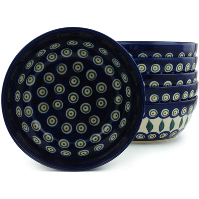Polish Pottery 7-inch Set of 6 Bowls | Boleslawiec Stoneware | Polmedia H2988I