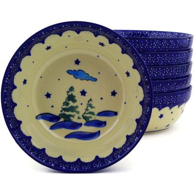 Polish Pottery 7-inch Set of 6 Bowls   Boleslawiec Stoneware   Polmedia H8983F