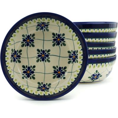 Polish Pottery 7-inch Set of 6 Bowls | Boleslawiec Stoneware | Polmedia H5329I