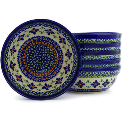Polish Pottery 7-inch Set of 6 Bowls | Boleslawiec Stoneware | Polmedia H6612E