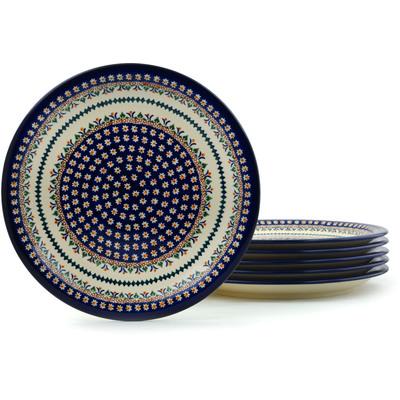 Polish Pottery 11-inch Set of 6 Plates | Boleslawiec Stoneware | Polmedia H5322I
