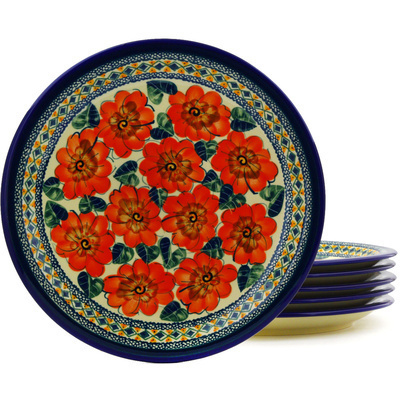 Polish Pottery 11-inch Set of 6 Plates   Boleslawiec Stoneware   Polmedia H8872F