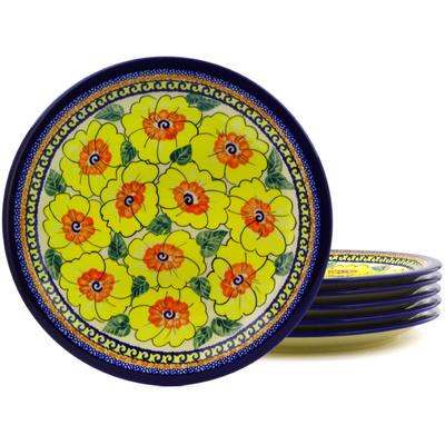 Polish Pottery 11-inch Set of 6 Plates | Boleslawiec Stoneware | Polmedia H8875F