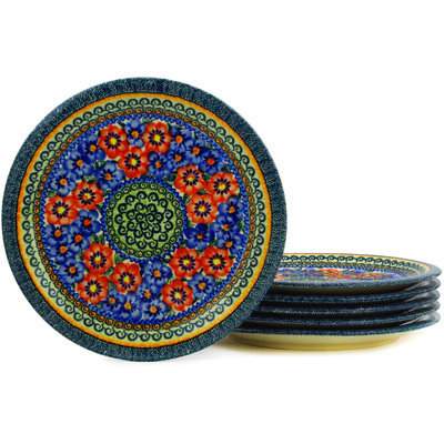 Polish Pottery 11-inch Set of 6 Plates | Boleslawiec Stoneware | Polmedia H3079E