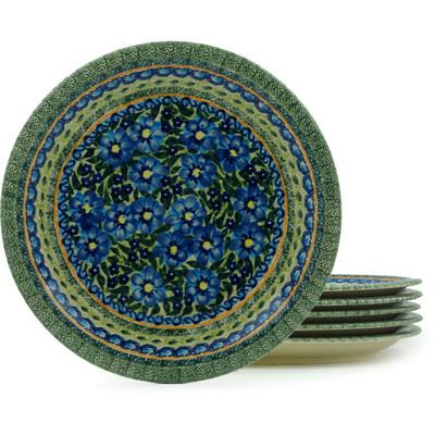 Polish Pottery 11-inch Set of 6 Plates   Boleslawiec Stoneware   Polmedia H2985I