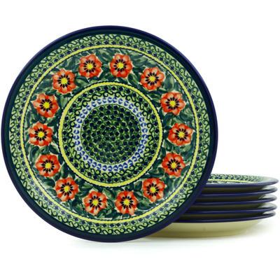 Polish Pottery 11-inch Set of 6 Plates | Boleslawiec Stoneware | Polmedia H7720H
