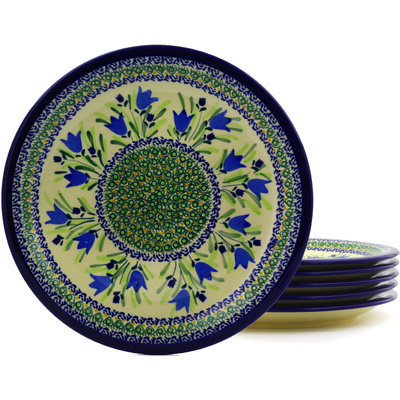 Polish Pottery 11-inch Set of 6 Plates | Boleslawiec Stoneware | Polmedia H8876F