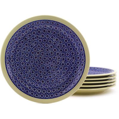 Polish Pottery 11-inch Set of 6 Plates | Boleslawiec Stoneware | Polmedia H8942F