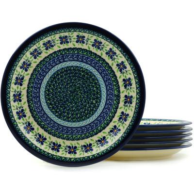 Polish Pottery 11-inch Set of 6 Plates   Boleslawiec Stoneware   Polmedia H5984I