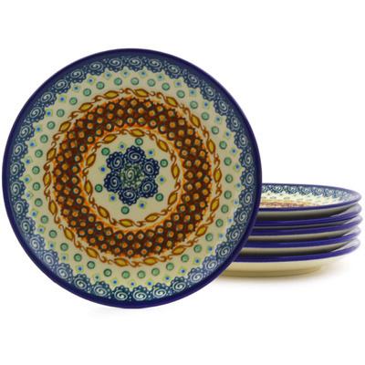 Polish Pottery 7-inch Set of 6 Plates | Boleslawiec Stoneware | Polmedia H8894F