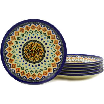 Polish Pottery 7-inch Set of 6 Plates | Boleslawiec Stoneware | Polmedia H6649E