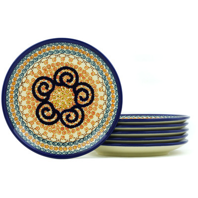 Polish Pottery 7-inch Set of 6 Plates   Boleslawiec Stoneware   Polmedia H7704H