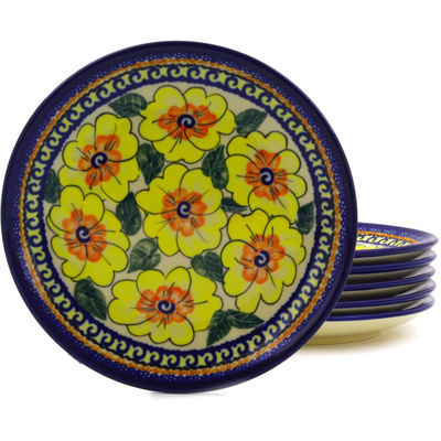 Polish Pottery 7-inch Set of 6 Plates | Boleslawiec Stoneware | Polmedia H8904F
