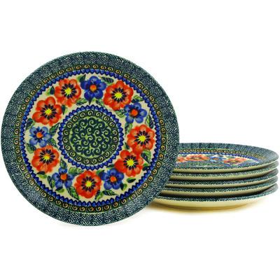 Polish Pottery 7-inch Set of 6 Plates | Boleslawiec Stoneware | Polmedia H3076E