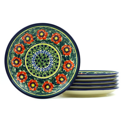 Polish Pottery 7-inch Set of 6 Plates | Boleslawiec Stoneware | Polmedia H7706H