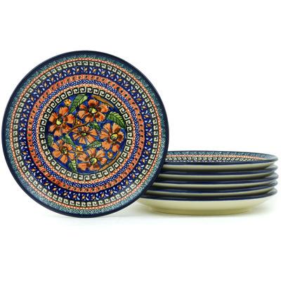 Polish Pottery 7-inch Set of 6 Plates | Boleslawiec Stoneware | Polmedia H7707H