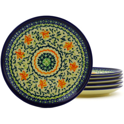 Polish Pottery 7-inch Set of 6 Plates   Boleslawiec Stoneware   Polmedia H8858F