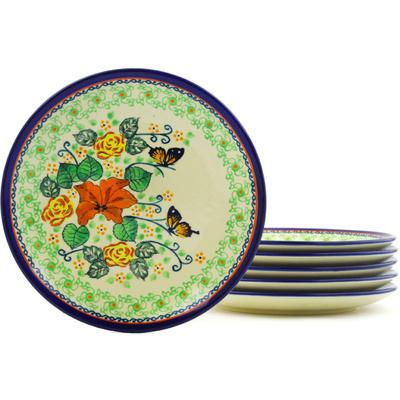 Polish Pottery 7-inch Set of 6 Plates | Boleslawiec Stoneware | Polmedia H8827F