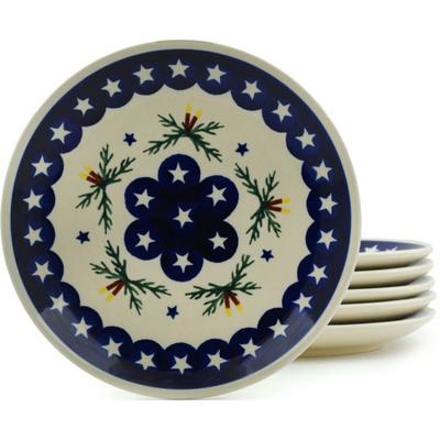 Polish Pottery 7-inch Set of 6 Plates | Boleslawiec Stoneware | Polmedia H2976I