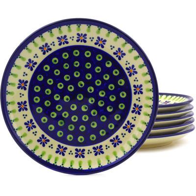 Polish Pottery 7-inch Set of 6 Plates | Boleslawiec Stoneware | Polmedia H8895F