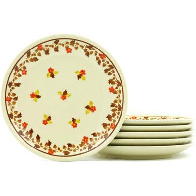 Polish Pottery 7-inch Set of 6 Plates | Boleslawiec Stoneware | Polmedia H7711H