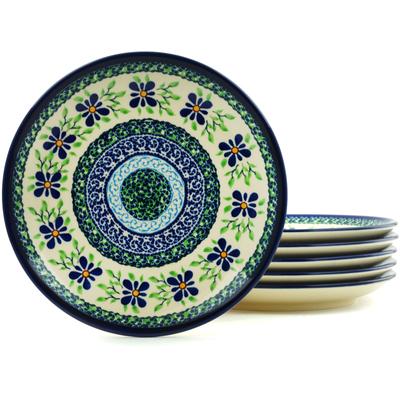Polish Pottery 7-inch Set of 6 Plates | Boleslawiec Stoneware | Polmedia H5978I