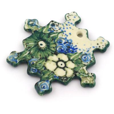 Polish Pottery 3-inch Snowflake Pendant | Boleslawiec Stoneware | Polmedia H8609F