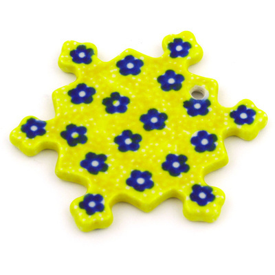 Polish Pottery 3-inch Snowflake Pendant | Boleslawiec Stoneware | Polmedia H8729F