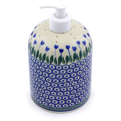Polish Pottery 7-inch Soap Dispenser | Boleslawiec Stoneware | Polmedia H7201I