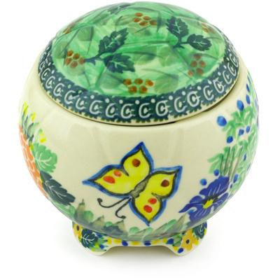 Polish Pottery 4-inch Soccer Ball Jar | Boleslawiec Stoneware | Polmedia H5550G