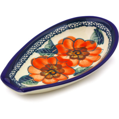 Polish Pottery 5-inch Spoon Rest | Boleslawiec Stoneware | Polmedia H3455C