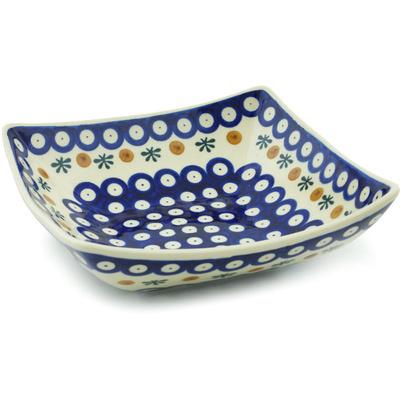 Polish Pottery 8-inch Square Bowl | Boleslawiec Stoneware | Polmedia H8926H