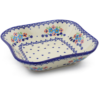 Polish Pottery 8-inch Square Bowl | Boleslawiec Stoneware | Polmedia H6811F
