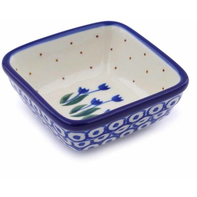 Polish Pottery 3-inch Square Bowl | Boleslawiec Stoneware | Polmedia H0612J