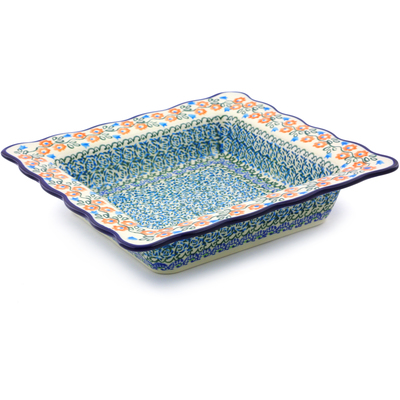 Polish Pottery 9-inch Square Bowl | Boleslawiec Stoneware | Polmedia H8101I