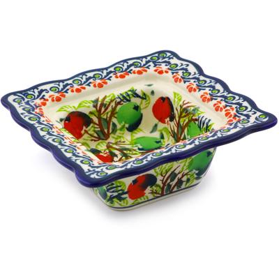 Polish Pottery 5-inch Square Bowl | Boleslawiec Stoneware | Polmedia H8117I