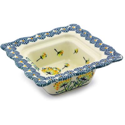 Polish Pottery 5-inch Square Bowl | Boleslawiec Stoneware | Polmedia H8119I