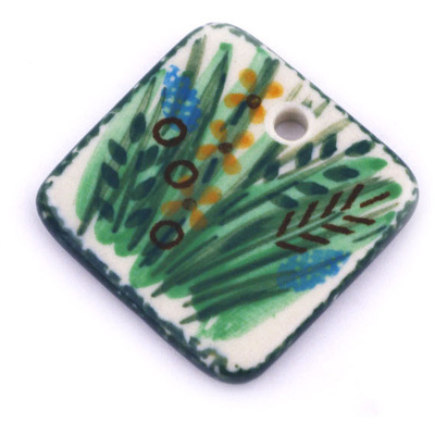 Polish Pottery 1-inch Square Pendant | Boleslawiec Stoneware | Polmedia H6296G