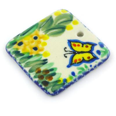 Polish Pottery 2-inch Square Pendant | Boleslawiec Stoneware | Polmedia H5377G