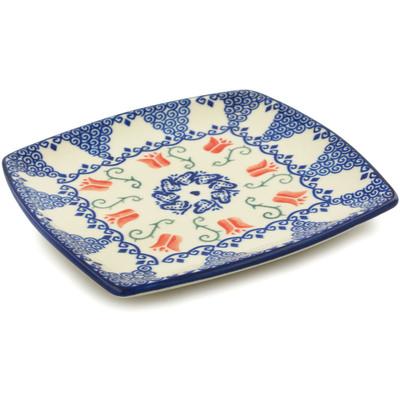 Polish Pottery 7-inch Square Plate | Boleslawiec Stoneware | Polmedia H5685I