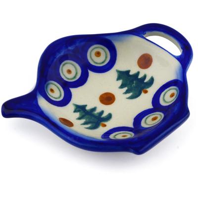 Polish Pottery 4-inch Tea Bag or Lemon Plate | Boleslawiec Stoneware | Polmedia H8826E