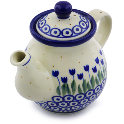 Polish Pottery 13 oz Tea or Coffee Pot   Boleslawiec Stoneware   Polmedia H7209I
